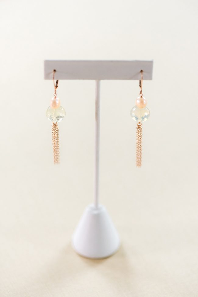 Rose gold tassel earrings, handcrafted jewelry by Maryland jewelry artisan J'Adorn Designs featured at Baltimore Museum of Art
