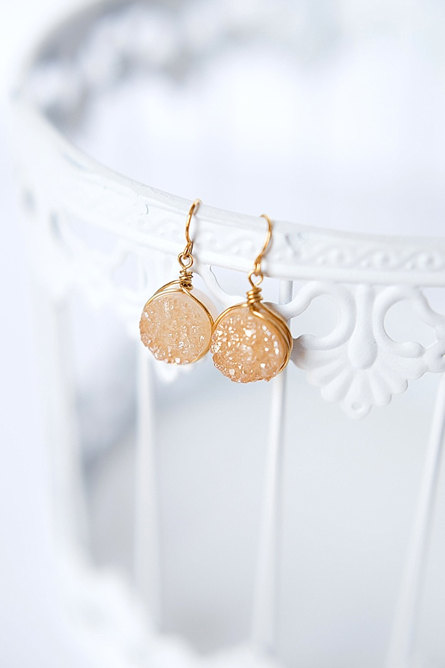Gold druzy earrings, handcrafted jewelry by Maryland jewelry artisan J'Adorn Designs featured at Baltimore Museum of Art