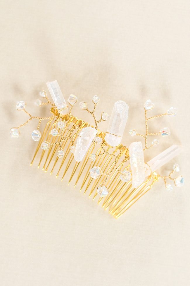 Raw crystal hair comb, handcrafted jewelry by Maryland jewelry artisan J'Adorn Designs featured at Baltimore Museum of Art