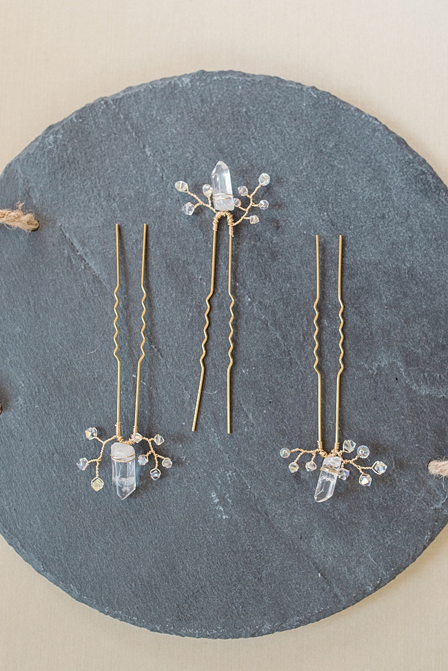custom vintage inspired yellow gold bridal hairpin set with raw crystal jadorn designs custom jewelry