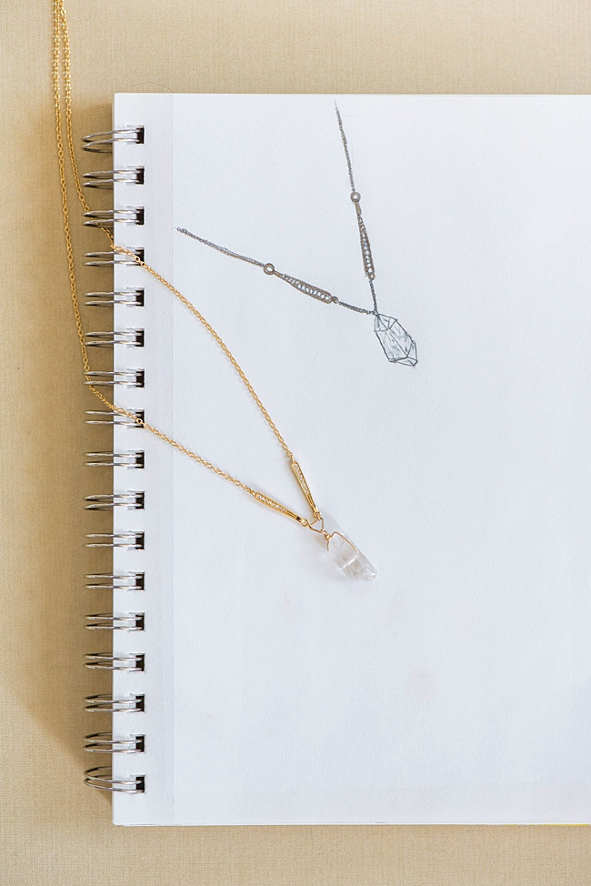 custom vintage inspired yellow gold bridal necklace with raw crystal on sketchbook jadorn designs custom jewelry