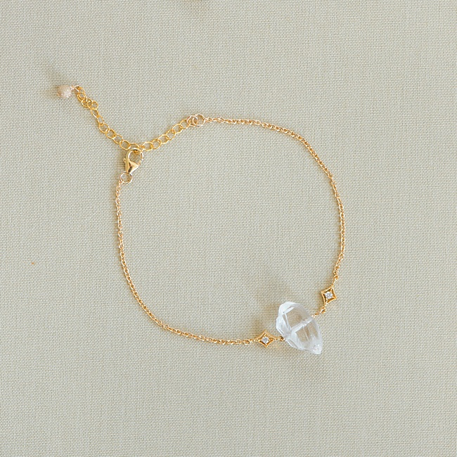 vintage inspired yellow gold delicate chain bridal bracelet with raw crystal jadorn designs custom jewelry