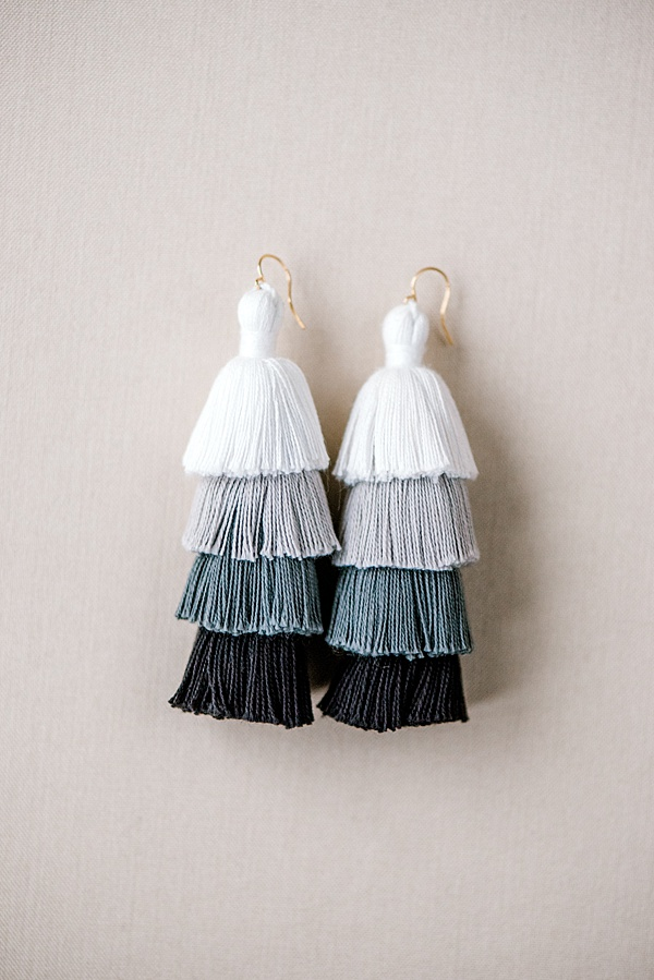 black and white ombre neutral tassel earring flat lay custom jewelry by j'adorn designs, maryland jewelry artisan