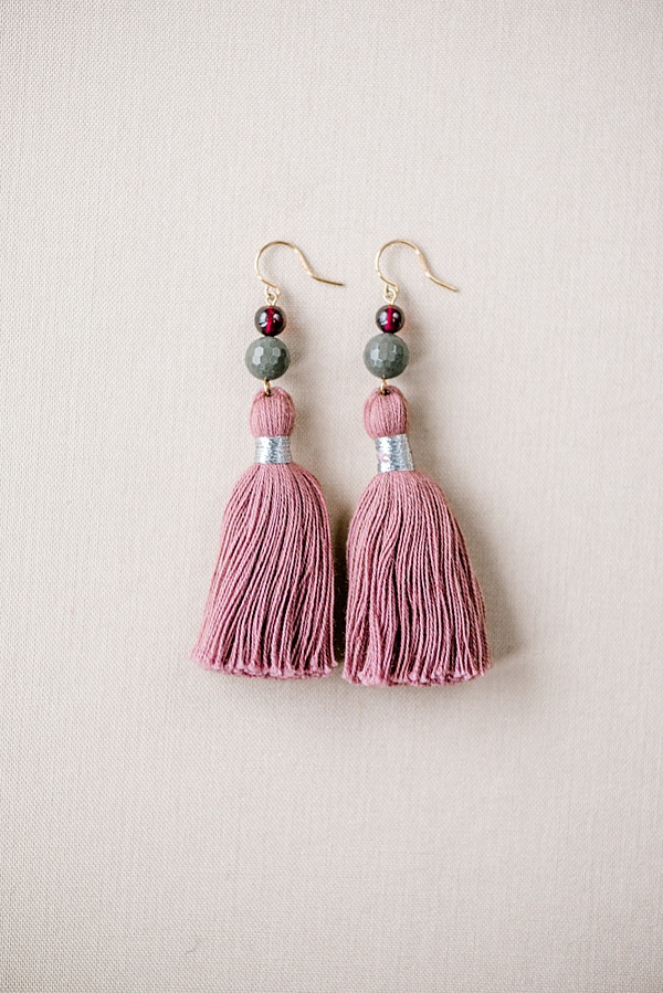 blush and gemstone tassel earring, millennial pink jewelry, custom jewelry by j'adorn designs, maryland custom jeweler