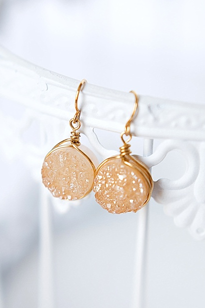 gold and champagne druzy earrings jadorn designs custom jewelry
