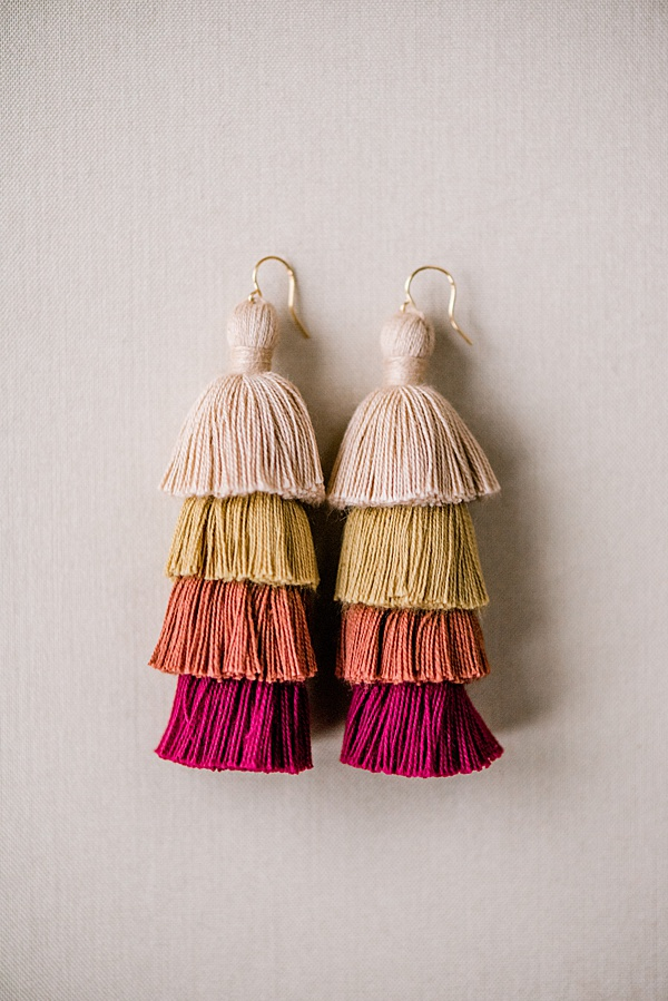 red and brown autumn tiered tassel earrings custom jewelry by j'adorn designs, baltimore maryland jewelry designer