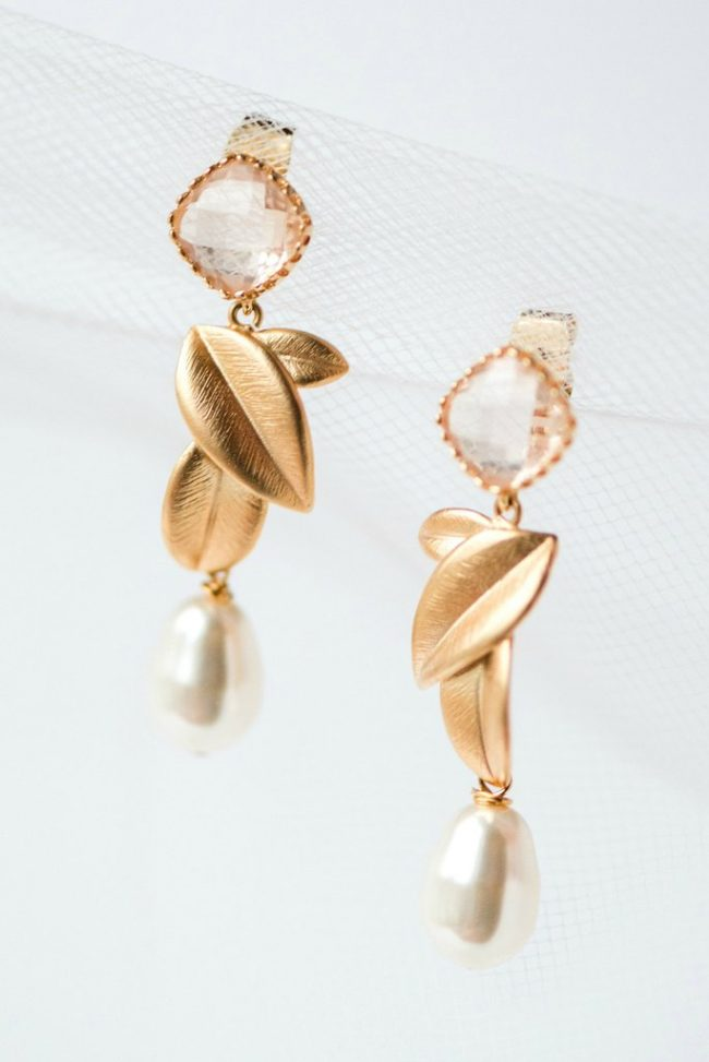 Botanical bridal earrings for a vintage inspired wedding in Baltimore, Blush and Gold leaves bridal earrings handmade by J'Adorn Designs bridal accessories