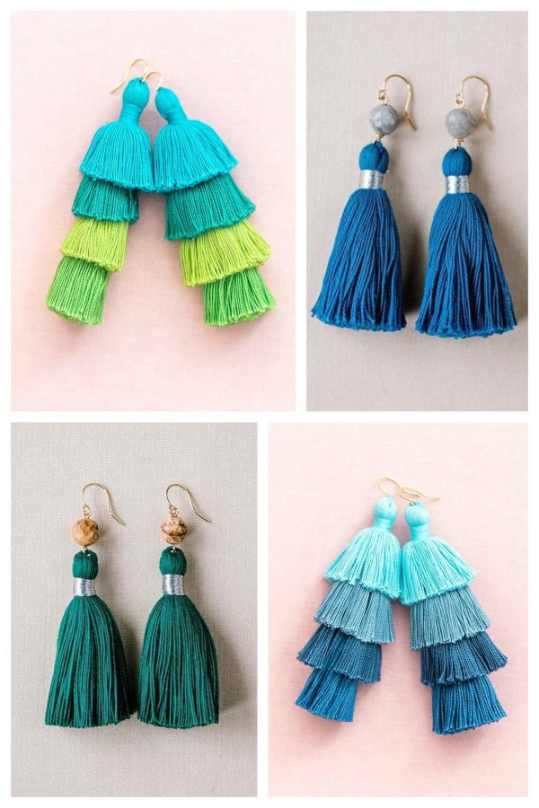 Blue and green tassel earrings by J'Adorn Designs artisan jewelry, for sale at Catonsville craft show MayFair Market
