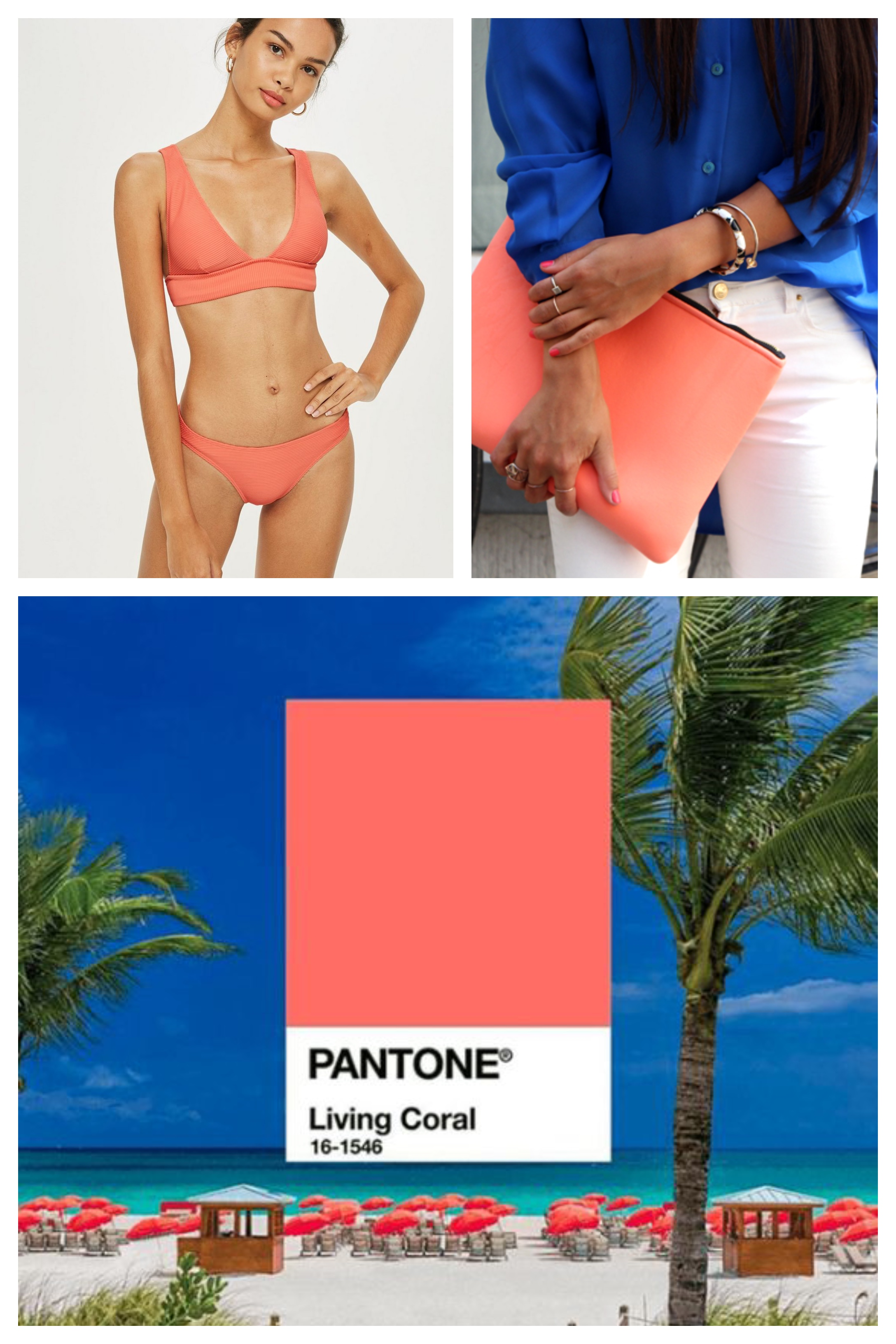 pantone living coral beachy vibes collage