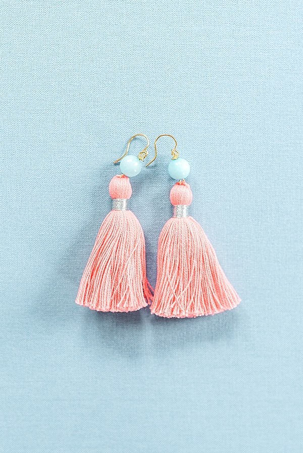 Pantone coral style ideas, Living coral tassel earrings, 2019 color of the year, handcrafted jewelry by J'Adorn Designs