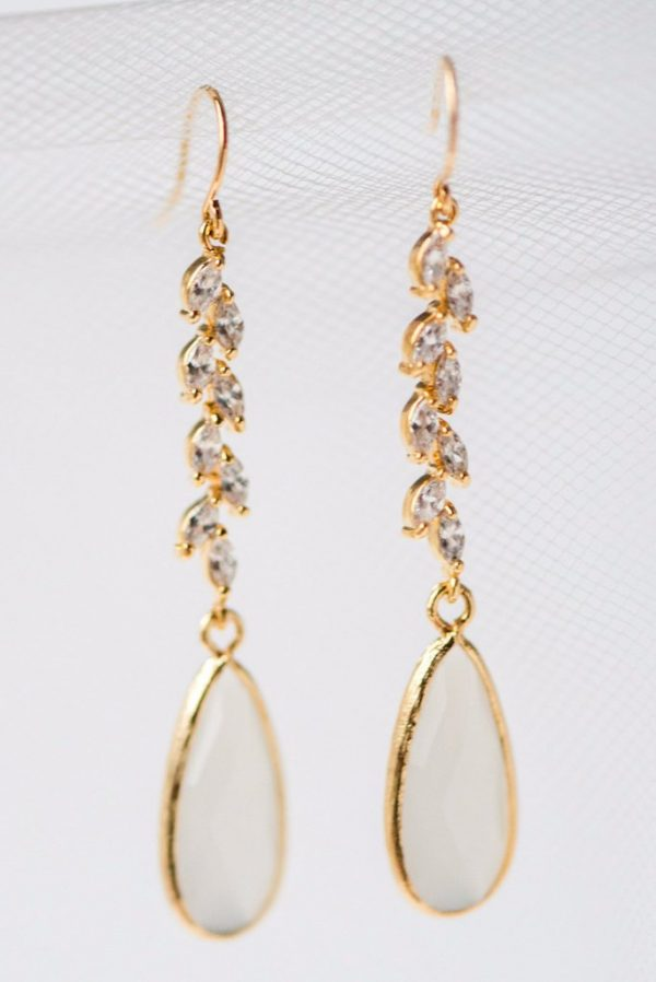 gold crystal vine and opal teardrop bridal earrings jadorn designs custom jewelry