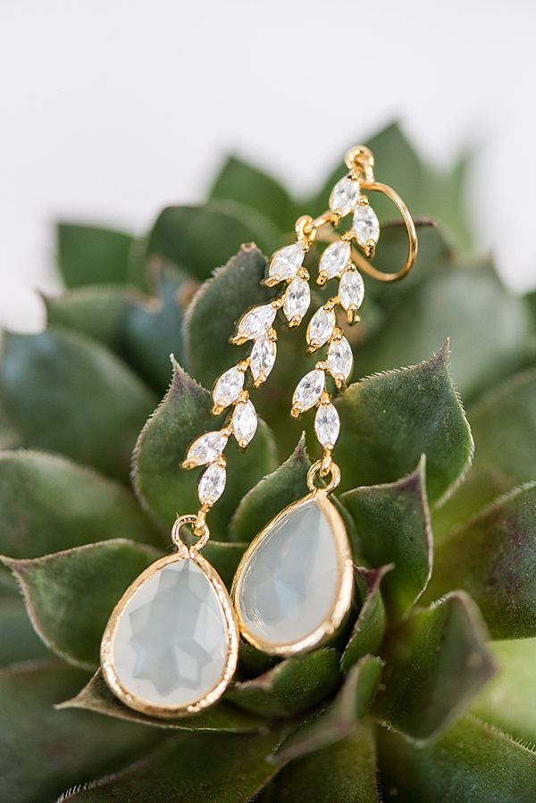 Custom wedding earrings for a Portland bride's outdoor wedding, made by J'Adorn Designs custom bridal accessories