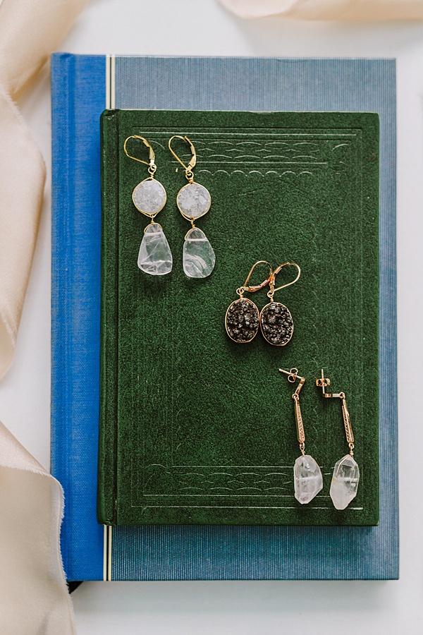 crystal earrings; druzies, rose quartz, crystal spikes dangle earrings by jadorn designs custom jewelry