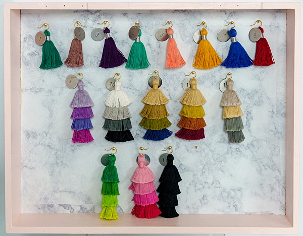 Tassel bar pop-up shop; design your own tassel earrings at local artisan events in Maryland with J'Adorn Designs custom jewelry and bridal accessories