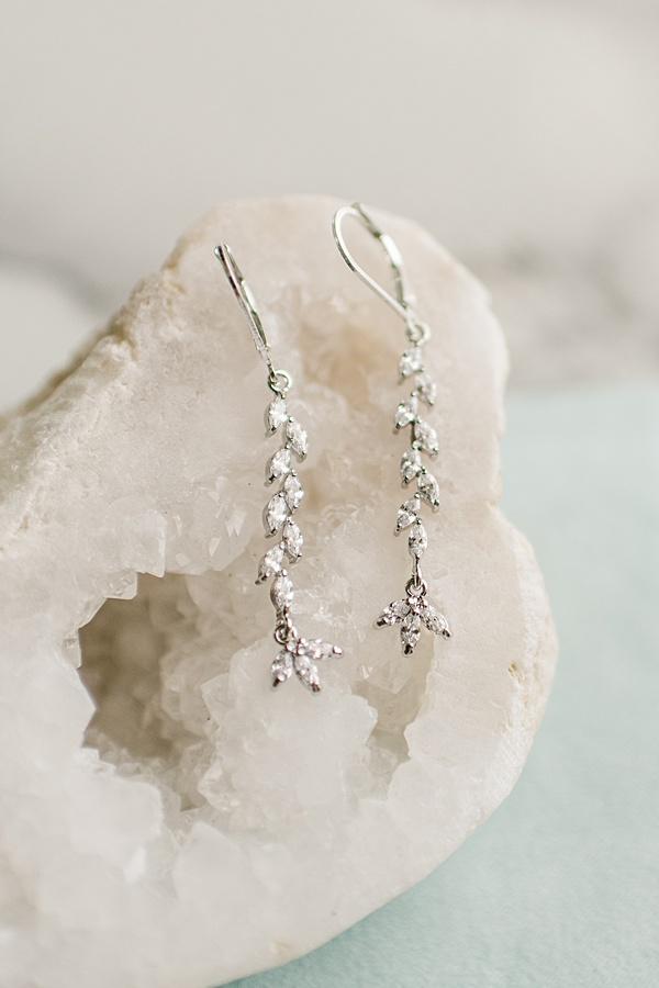 Delicate crystal vine earrings, dainty silver sparkle earrings, custom artisan bridal earrings by J'Adorn Designs handcrafted bridal accessories