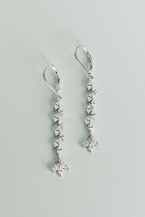 Delicate crystal vine earrings, dainty silver sparkle earrings, custom artisan bridal earrings by J'Adorn Designs handcrafted bridal accessories