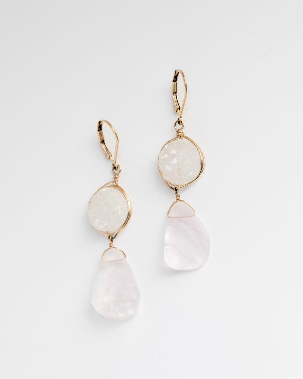 white druzy and rose quartz drop earrings jadorn designs custom jewelry