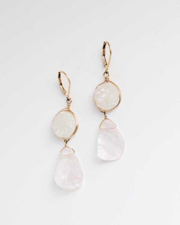 white druzy and rose quartz drop earrings jadorn designs custom jewelry