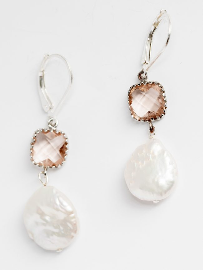 Alternative bridal earrings with blush cushion cut stone and blistered freshwater pearl drop in silver, handcrafted jewelry by J'Adorn Designs