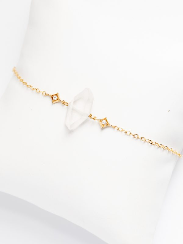 Alternative bridal bracelet with rough crystal spike and delicate gold chain, handcrafted bridal jewelry by J'Adorn Designs