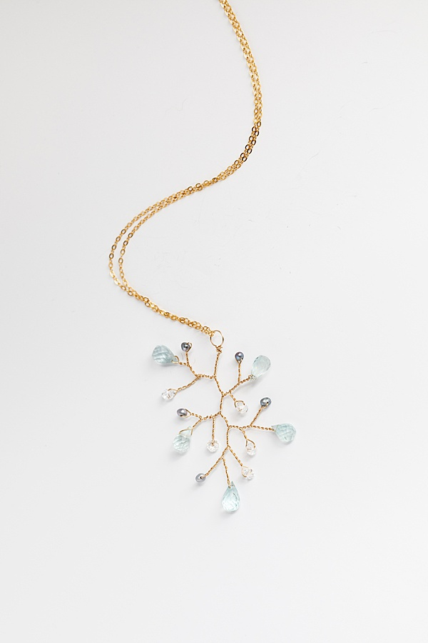 Handcrafted aquamarine and pearl branch necklace, lightweight gold statement pendant necklace made by J'Adorn Designs