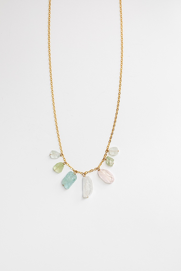 Rainbow tourmaline gemstone collar necklace, delicate gold necklace with rough cut tourmaline gemstones in ombre rainbow pattern, made by J'Adorn Designs handcrafted jewelry