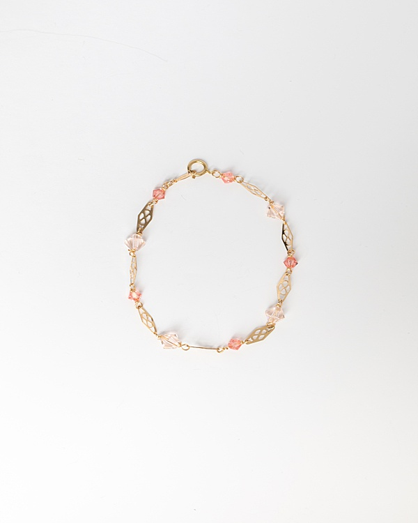 Delicate gold link and swarovski crystal bracelet in living coral, peach, and gold, handcrafted jewelry by J'Adorn Designs