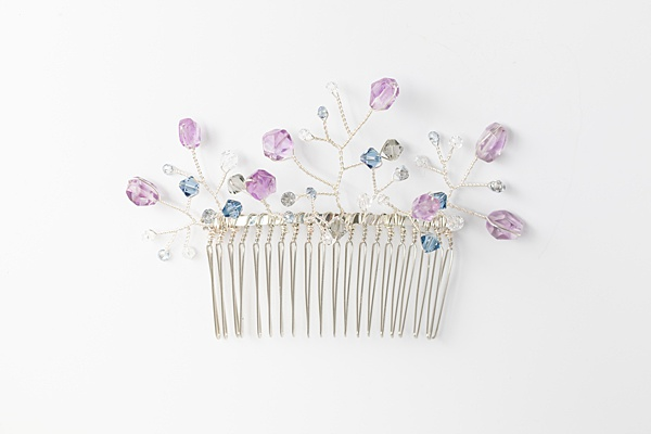 Colorful purple hair comb with amethyst gemstones and Swarovski crystals in blue and silver, bridal vines comb by J'Adorn Designs handcrafted jewelry and bridal accessories