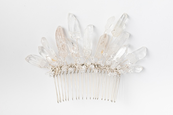 Alternative bridal comb with crystal spikes and tiny crystals in silver, edge rough crystal comb by J'Adorn Designs handcrafted jewelry