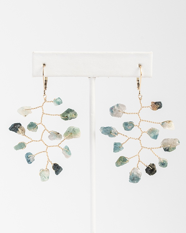 Rough blue and green tourmaline gemstone earrings in gold branch wire wrapped style, handcrafted jewelry by J'Adorn Designs
