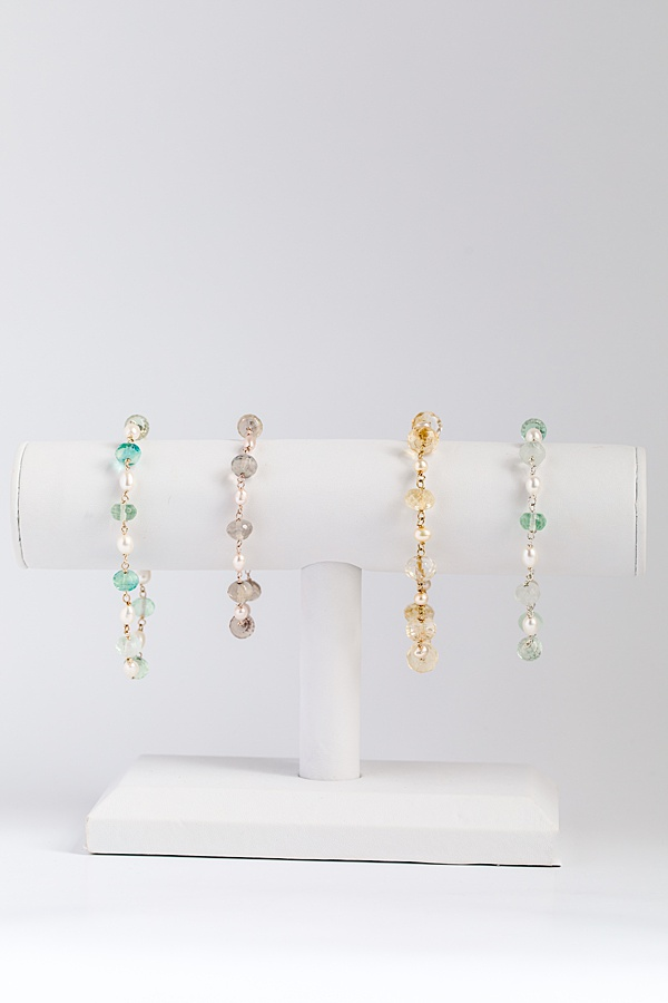 Delicate gold gemstone and freshwater pearl bracelet, handcrafted jewelry by J'Adorn Designs