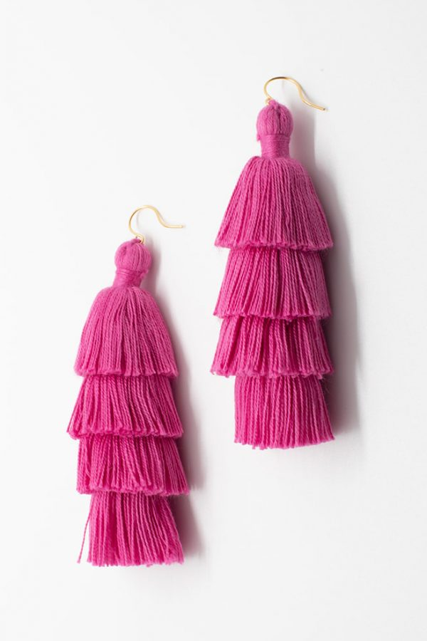 Grad gift ideas, Pink tiered tassel earrings, luxury fashion jewelry, tassel earrings in bright pink, tassel jewelry by J'Adorn Designs handcrafted jewelry made in Maryland