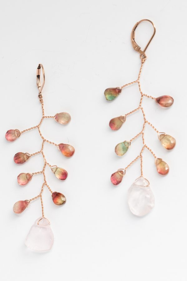 Watermelon tourmaline and rose quartz branch earrings in rose gold, handcrafted jewelry with precious gems by J'Adorn Designs custom jeweler