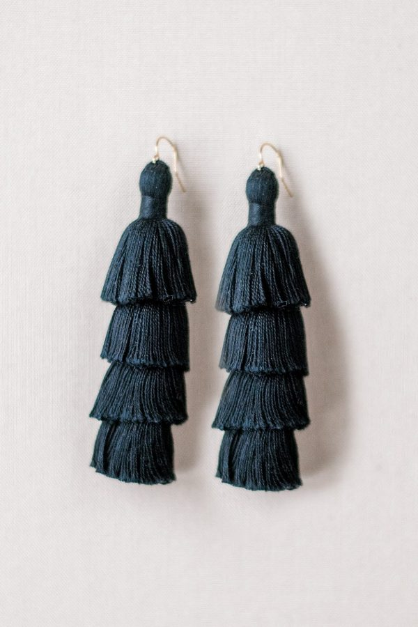 Solid black tiered tassel earrings made of high quality cotton; JAdorn Designs handcrafted jewelry available at Cotton and Co vintage boutique in Keymar MD