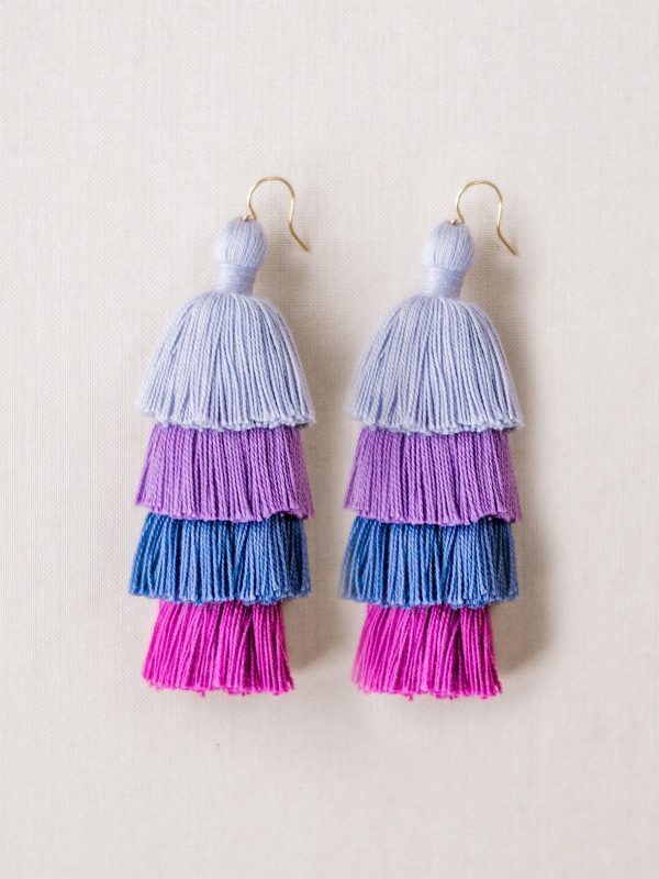 Purple ombre tiered tassel earrings made of high quality cotton; JAdorn Designs handcrafted jewelry available at Cotton and Co vintage boutique in Keymar MD