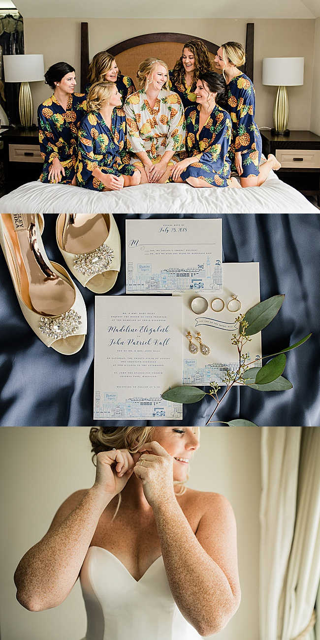 Smiling bridal party in robes, Preppy blue and white wedding details, blonde bride getting ready with sparkly gold bridal teardrop earrings by J'Adorn Designs bridal jeweler for a classic Annapolis wedding at Chesapeake Bay Beach Club