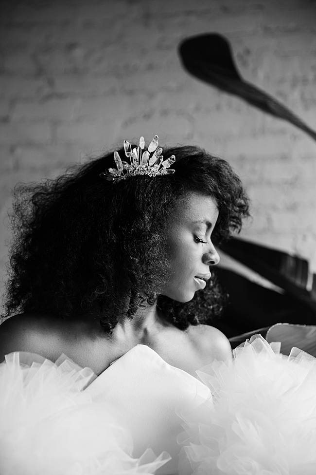 Urban botanical bridal style inspiration, natural hair black bride wearing dramatic raw crystal bridal comb by J'Adorn Designs artisan bridal accessories