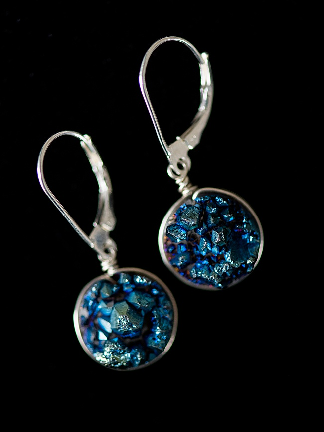 Aqua blue druzy drop earrings with sterling silver lever-back earrings for comfort. J'Adorn Designs handcrafted gemstone jewelry, as seen at the Baltimore Museum of Art.