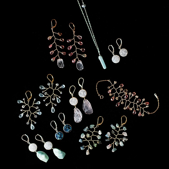 J'Adorn Designs handcrafted gemstone jewelry: A mini-collection now available at the Baltimore Museum of Art. Artisan jewelry made with freshwater pearls and gemstones including rose quartz, aquamarine, amazonite, tourmaline, druzy quartz, and watermelon tourmaline.