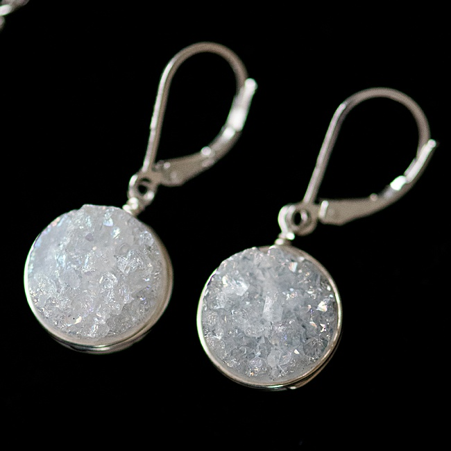 White druzy drop earrings with sterling silver lever-back earrings for comfort. J'Adorn Designs handcrafted gemstone jewelry, as seen at the Baltimore Museum of Art.