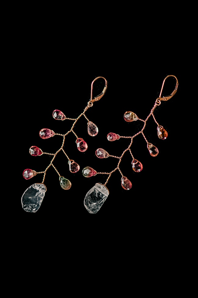 J'Adorn Designs handcrafted gemstone jewelry set: watermelon tourmaline and rose quartz vine earrings and rose gold vine bracelet. As seen at the Baltimore Museum of Art.