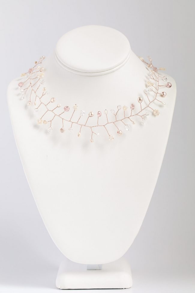 Handcrafted rose gold vine of freshwater pearls, swarovski crystals, and delicate rose gold wire. Wear it as a choker necklace or a hair vine! Hand crafted in Baltimore by J'Adorn Designs artist Alison Jefferies