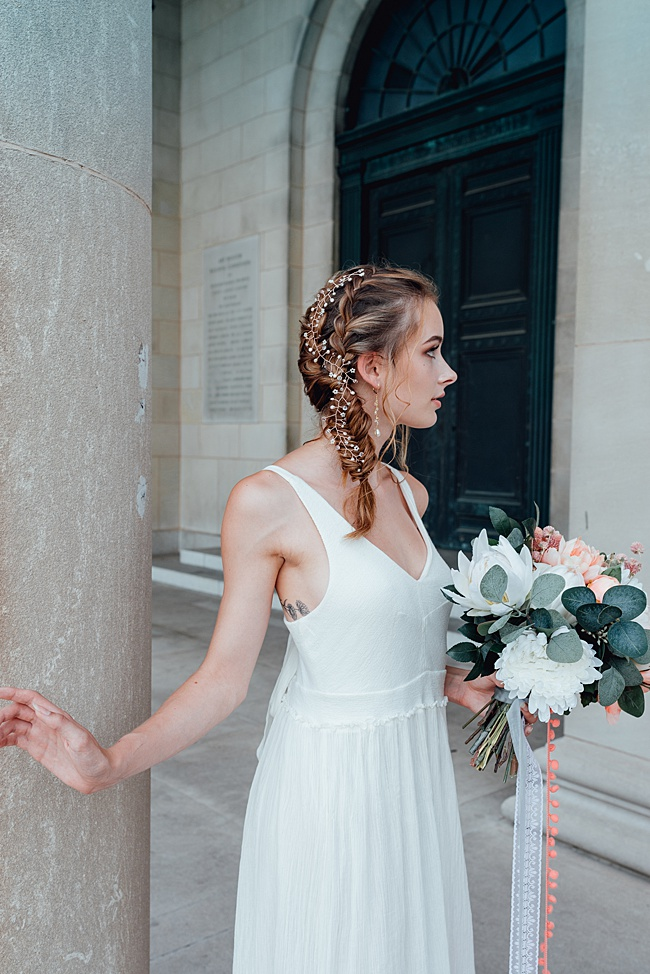 How to Wear a Hair Vine: Two wedding hairstyles featuring our Rose Gold Bridal Vine as a wedding hair accessory. J'Adorn Designs heirloom bridal hair accessories and jewelry