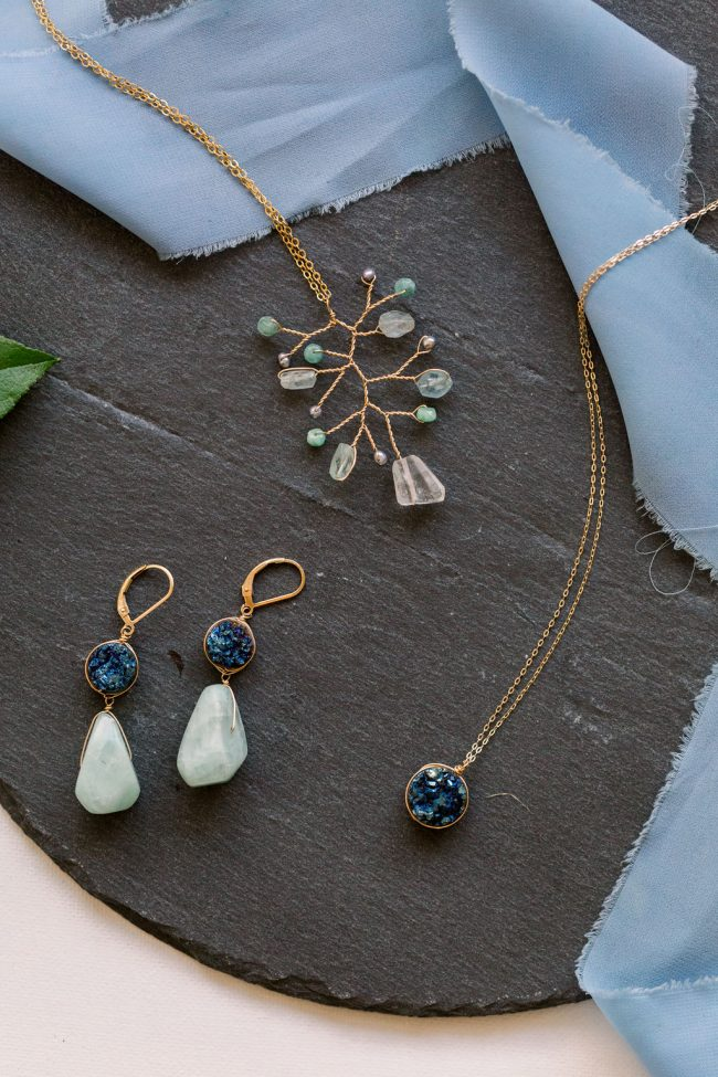 Harmony Collection: Jewelry by J'Adorn Designs. A selection of teal, green, and blue ocean colored gemstone jewelry that was handcrafted in Baltimore MD by jewelry artisan Alison Jefferies