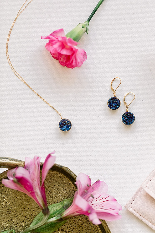 Blue druzy jewelry set by J'Adorn Designs