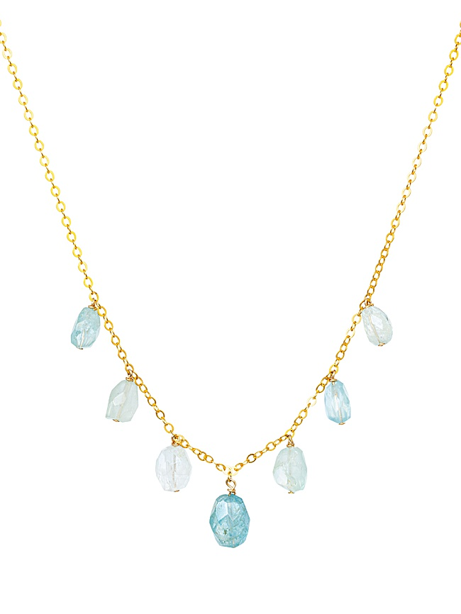 Blue tourmaline drops necklace on a delicate gold chain by J'Adorn Designs for the Harmony Collection
