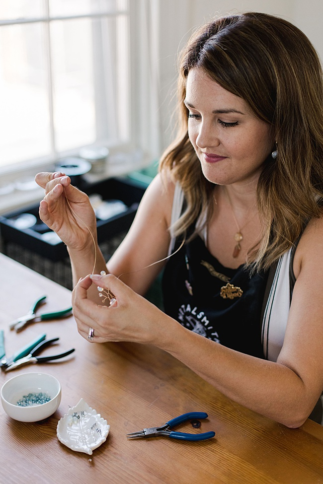 Maryland jewelry artisan Alison Jefferies makes delicate gemstone jewelry and hair accessories for women and weddings at her jewelry studio in Catonsville