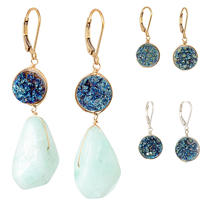 Aqua blue druzy and amazonite gemstone earrings, Most popular jewelry for 2020 by J'Adorn Designs