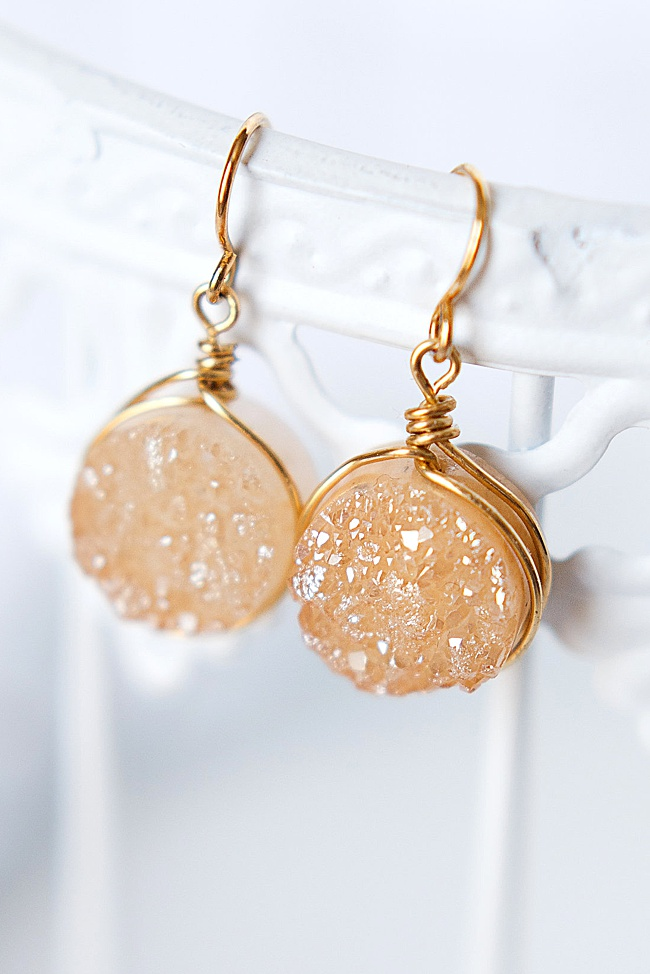 champagne gold druzy drop earrings with hypoallergenic earring hooks, handcrafted gemstone jewelry made in USA by J'Adorn Designs jeweler Alison Jefferies