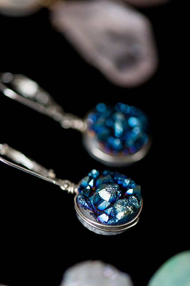 2020 jewelry trends forecast: druzy gemstone jewelry will continue to be popular in earrings, necklaces, rings, and a variety of accessory styles, by J'Adorn Designs custom jewelry